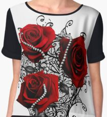 Red roses with pearls Chiffon Top