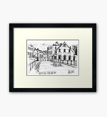Windsor Eton pedestrian bridge - pen and ink sketch Framed Print