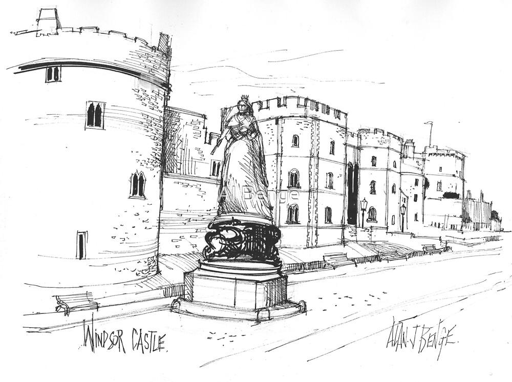 Windsor Castle, Queen Victoria statue, England by Al Benge