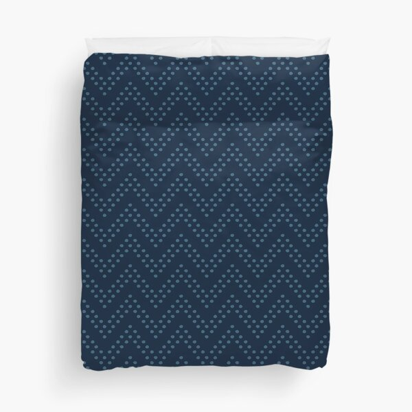 Blue Chevron Dot Duvet Cover