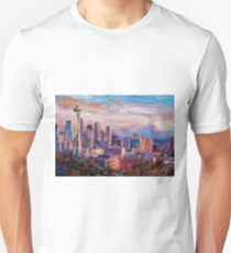 Seattle Skyline with Space Needle and Mt Rainier Unisex T-Shirt