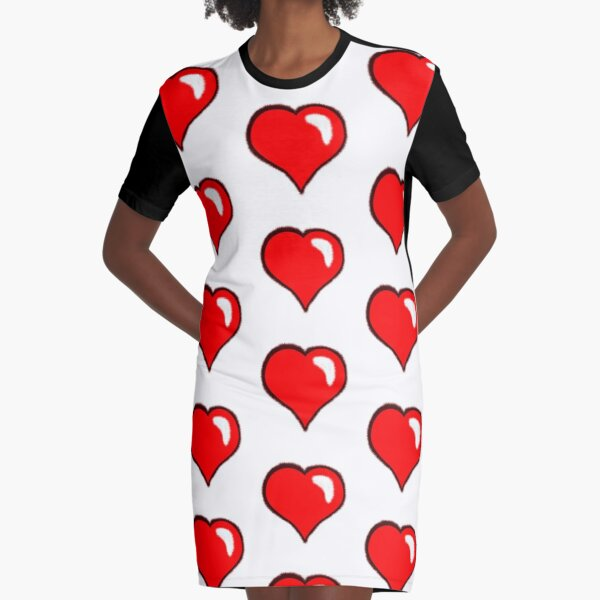 Heart, red and black - Nesci Graphic T-Shirt Dress