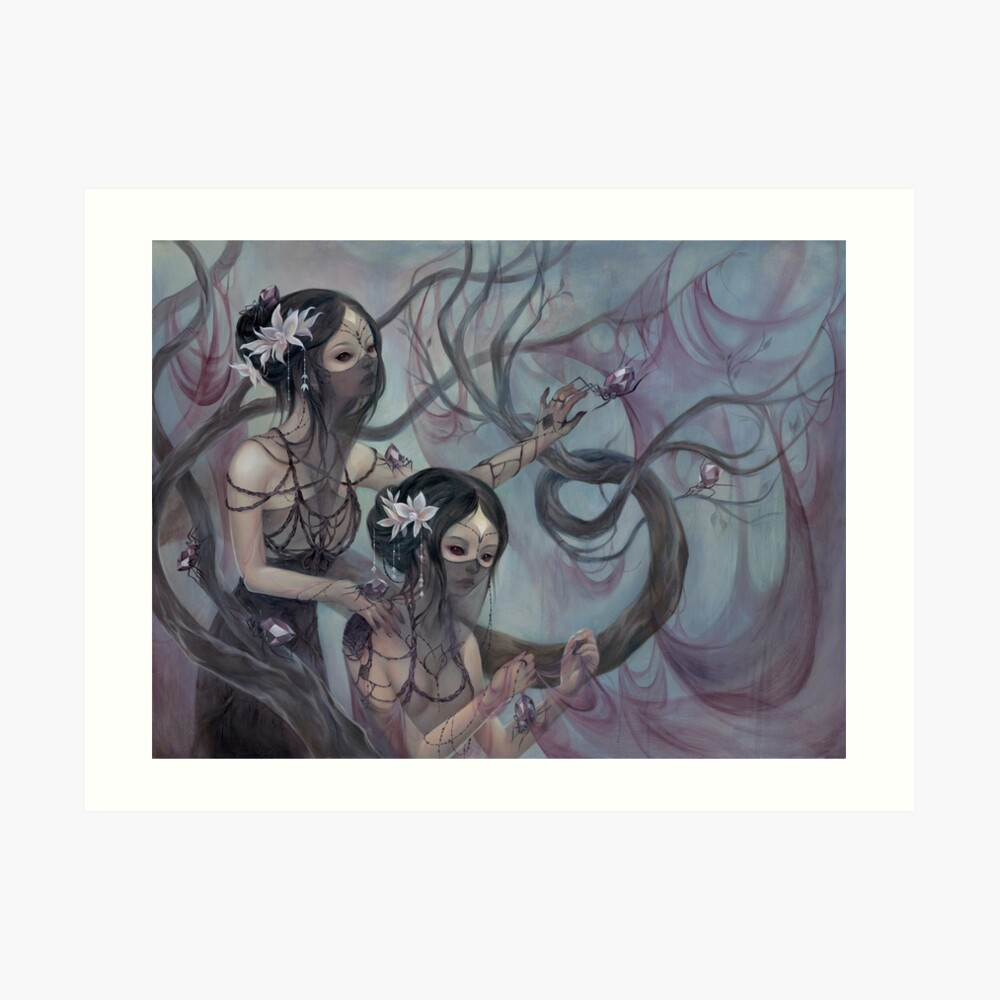 collecting silk from crystal spiders Art Print