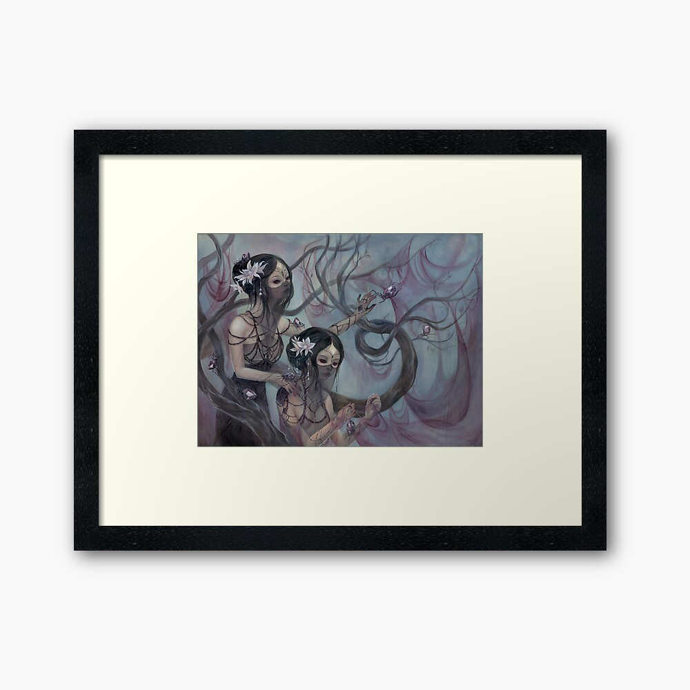collecting silk from crystal spiders Framed Art Print