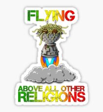 FSM Flying Spaghetti Monster Flying Above All Other Religions  Sticker