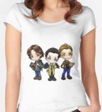 Supernatural Castiel Dean and Sam Winchester  Women's Fitted Scoop T-Shirt