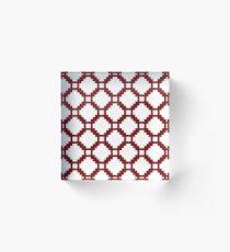 Red Pixel life, white color bricks, squares pattern Acrylic Block
