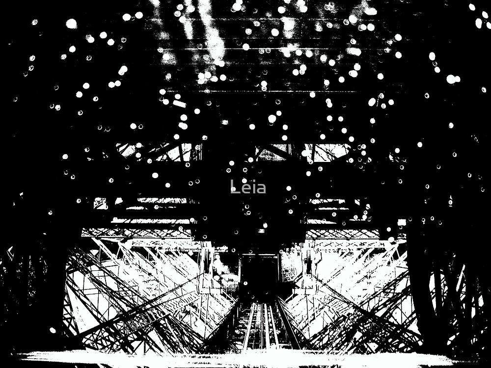 Black White Rain on Eiffel by Leia