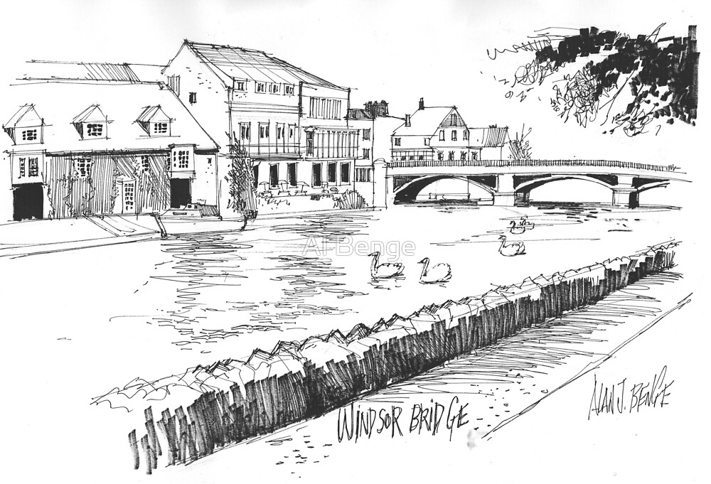 Windsor Eton bridge from the Thames by Al Benge