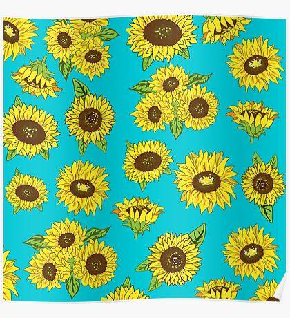 Grunge Sunflower Pattern Poster