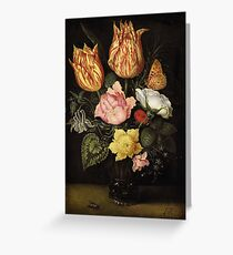 Ambrosius Bosschaert the Elder STILL LIFE OF TULIPS, WILD ROSES, CYCLAMEN, YELLOW RANUNCULUS, FORGET-ME-NOT AND OTHER FLOWERS, IN A GLASS BEAKER Greeting Card