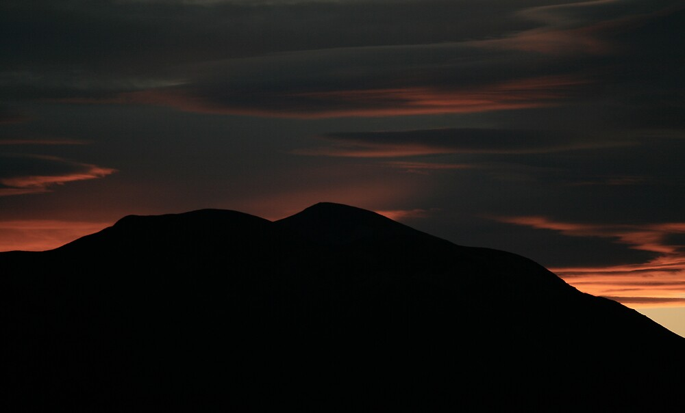 Sunset over mountain by bevan