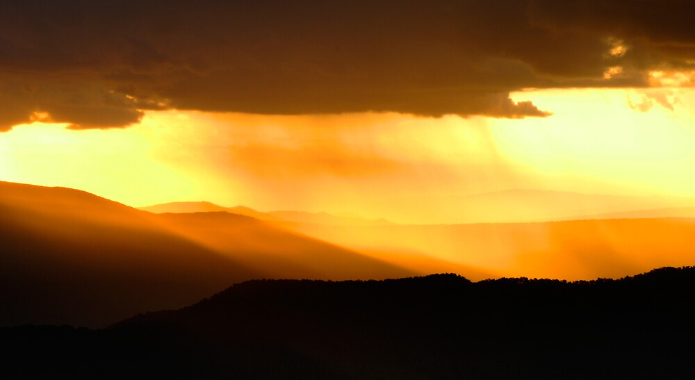 Mountain Showers at Sunset by John Barratt