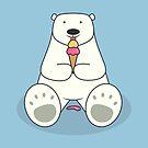 Ice Cream Lover Polar Bear by cartoonbeing