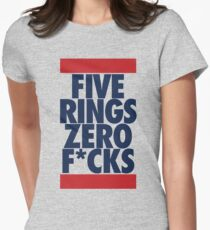 Five Rings Zero Fcks (Red/Navy) Womens Fitted T-Shirt