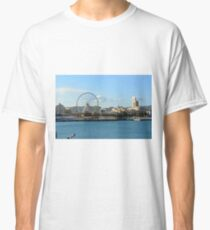 MALAGA, SPAIN, December 28, 2016, People are walking on a promenade surrounded by marina in the port of Malaga in Spain. Classic T-Shirt