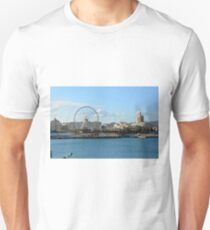 MALAGA, SPAIN, December 28, 2016, People are walking on a promenade surrounded by marina in the port of Malaga in Spain. Unisex T-Shirt