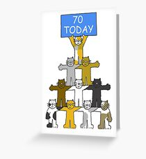 70th Birthday Cats Greeting Card