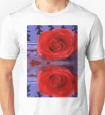 Red Rose on Wooden Background T-Shirt
