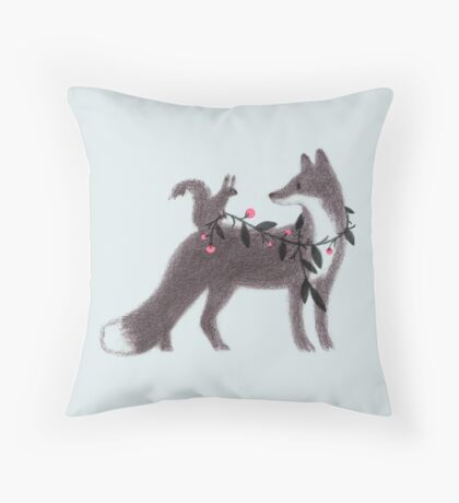 Squirrel and Fox Throw Pillow