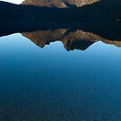 Vertical Cradle Mountain Morning Panorama by John Barratt