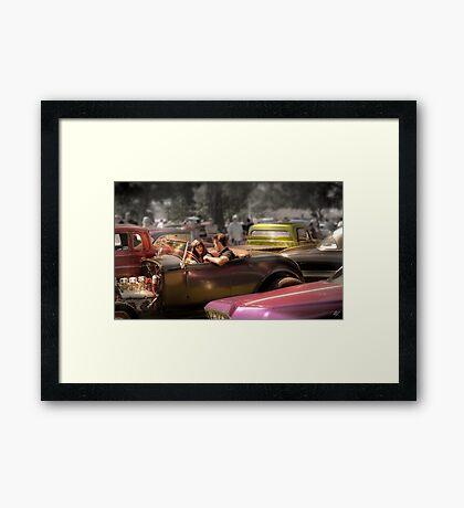 Portrait of a Hot Rod Couple Framed Print