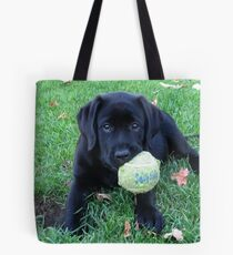 Black Labrador Puppy - Play Ball Tote Bag