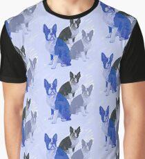 Boston Terrier stencils in Blue Graphic T-Shirt