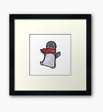 cartoon penguin wearing scarf Framed Print