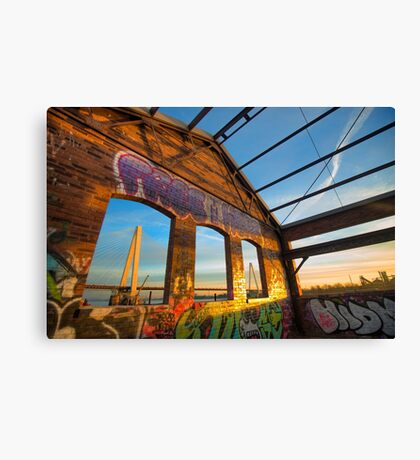 Urban Graffiti Landscape - Stan Musial Veterans Memorial Bridge - St. Louis Missouri Canvas Print