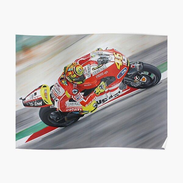 Valentino Rossi Ducati peinture à l'huile Poster