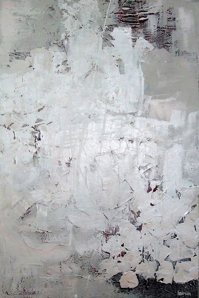 "abstract in white ""covering pain"" by ben leiman"