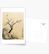 Plum Blossom With Stone And Iris - Ink Postcards