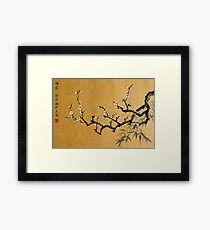 White Plum Blossom With Bamboo Framed Print