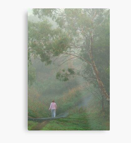 Misty Morning Walk,Waurn Pond Creek Metal Print