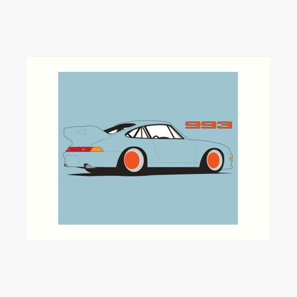 Porsche 993 Poster - Blue Art Print