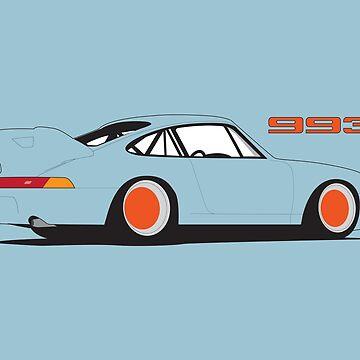 Porsche 993 Poster - Blue by VolkWear