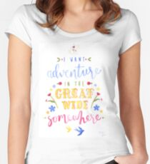 Beauty and the Beast Adventure Typography Women's Fitted Scoop T-Shirt