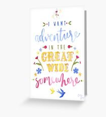 Beauty and the Beast Adventure Typography Greeting Card