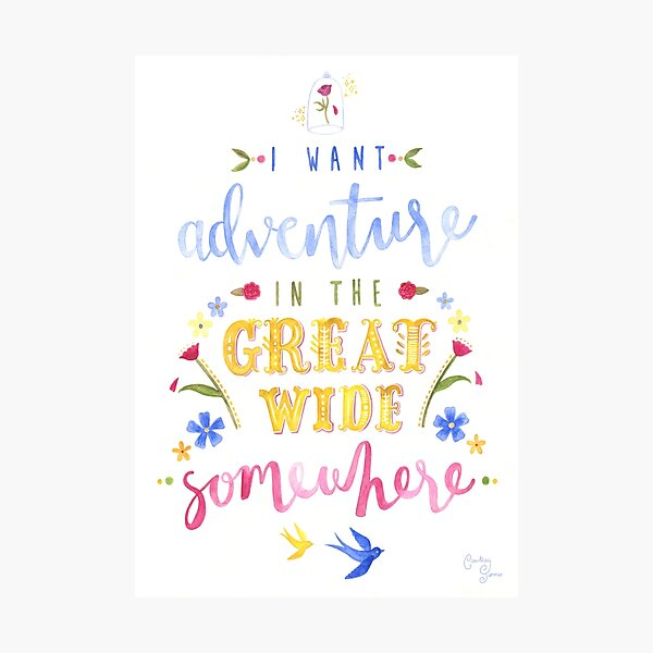 Beauty and the Beast Adventure Typography Photographic Print