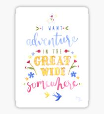 Beauty and the Beast Adventure Typography Sticker