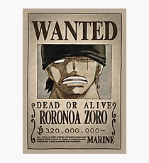 One Piece Wanted Poster: Zoro Photographic Print