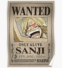 One Piece Wanted Poster: Sanji Poster