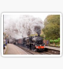"""Double headed Stanier """"Black Five"""" locomotives thunder through Hindley station. Sticker"""