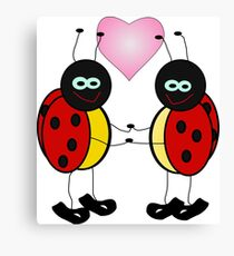 Lady bugs holding hands with heart Canvas Print