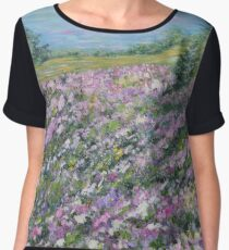 Thoughtful Meadow, impressionism landscape Chiffon Top