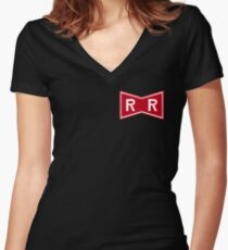 Red Ribbon Army Logo Women's Fitted V-Neck T-Shirt