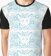 Zoe Dog Blue Lines Graphic T-Shirt