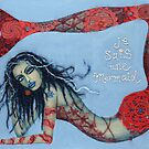 Je Suis Une Mermaid - Red with Pale Blue by Sarina Tomchin