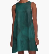 Faded Teal Rose Abstract A-Line Dress